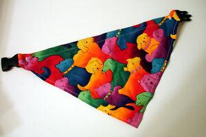 "Small Dog Neckerchief Bandana - Colorful Puppy Design - 13"" Circumference"