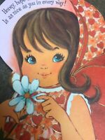 Vintage Birthday Card Hallmark Sweet Little Girl Blue Eyes Brown Hair Red Pink