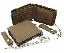 Bifold Grayish Light Brown Genuine Leather Zip-Around Wallet with a Chain