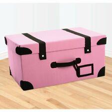 RETRO FOLDABLE SUITCASE STORAGE BOX TRUNK - PINK