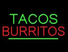 "New Tacos Burritos Shop Open Beer Bar Neon Light Sign 24""x20"""