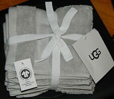 Ugg Set Of 4 Wash Towels Grey 100% Organic Cotton 13�x13� New Authentic