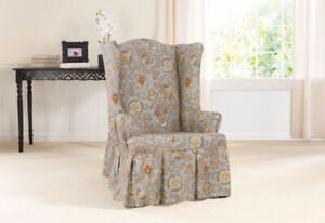 Sure fit Tennyson topaz By Waverly One Piece wing chair Slipcover new washable