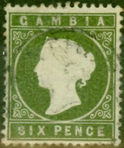 Gambia 1887 6d Olive-Green SG32d Fine Used