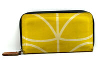 Orla Kiely Womens Large Canvas Wallet with Zip Closure Yellow