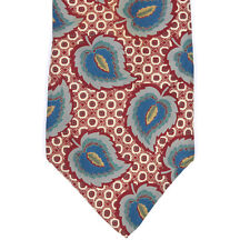 LIBERTY OF LONDON Hearty Rustic Blue Leaf Pattern on Cognac Brown Silk Neck Tie