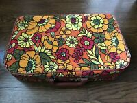 Flower Power Hand Luggage Briefcase Vintage Orange Yellow Records Case Bantam