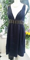 WHISTLES OF LONDON, NAVY BLUE BEADED DRESS - 100% SILK - VGC A07W - SIZE 10