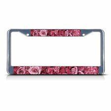 PINK ROSE FLOWERS Chrome Metal License Plate Frame Tag Holder