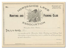 Horseshoe Lake Hunting and Fishing Club Association Certificate
