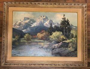 Original Painting OIL ON CANVAS Alexander Dzigurski Mountain Landscape Autumn