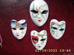 4 Vintage Venetian Style Ceramic Wall Hanging Mask