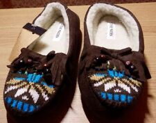 NWT STEVE MADDEN FAUX SHEEPSKIN BROWN MOCCASIN STYLE AZTEC SLIPPERS S 5 - 6 $30