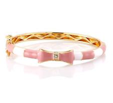 Kids 18K Gold Plated Bow Bangle & Baby Bangle Cubic Zirconia Enamel pink & white