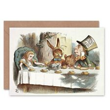 Book Carrol Alice Wonderland Tenniel Mad Hatter Blank Greeting Card