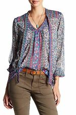 Lucky Brand - Womens S - NWT - Paisley Border Scarf Print Semi-Sheer Blouse