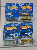 HW Hot Wheels bus set of 4, Surfin' School Bus, Police Triceratops Mix Signals
