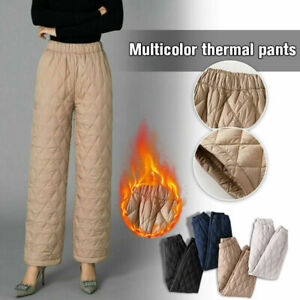 Womens Warm Padded Pants Winter Quilted Trousers Elastic Waist Casual Snow Pants