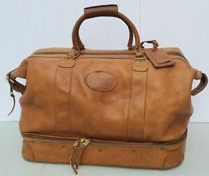 Vintage Orvis Battenkill Leather Large Collapsible Duffle Weekender Made in USA