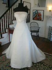 Wedding Gown Anjolique Bridal Iv Satin w/Lilac Crystals Pearls Empire Sz12