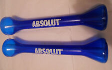 Absolut Vodka Tall Blue Drink Cup Plastic with Straw 15.75 inches Tall Pair
