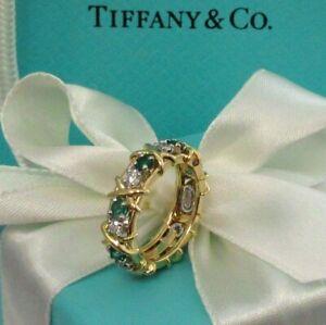 TIFFANY & Co Schlumberger 18K Gold Sixteen Stone Diamond Emerald X Ring 6 $9,400
