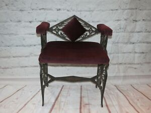 Antique Art Deco Bird of Paradise Cast Iron Bench w/ Side Arms and Diamond Back