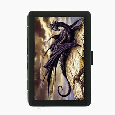 Black Metal Cigarette Case Holder Box Dragon Design-007 Custom Mythology Legends