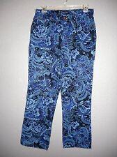 BILL BLASS PERFECT FIT 100% sz 12 BLUE Floral Soft JEANS  EUC!