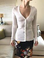 DOLCE & GABBANA White Ribbed Fitted Long Sleeve Cardigan Size 36 / XS / UK 6