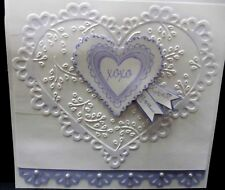 Stampin Up Retired LACY HEART w/ xox KISSES & HUGS mom wedding all occasion LOVE