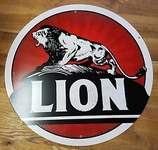 "ROARING LION GASOLINE BRAND GAS STATION STYLE 28"" ROUND ADVERTISING METAL SIGN"