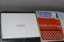 2 New In H P Clayton Box Vintage Scarves Blue White, Orange Red