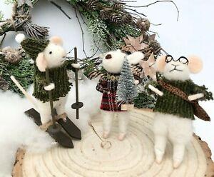 Rustic Felt White Mice Christmas Tree Mouse Decoration Xmas Craft Autumnal Decor