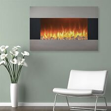 Stainless Electric Fireplace Wall Mount & Floor Stand Remote Timer  36 x 22