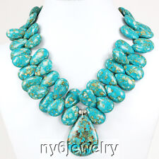 """*Gorgeous! Blue Flower Turquoise Teardrop Necklace w/Silver Plated Clasp 18"""""""