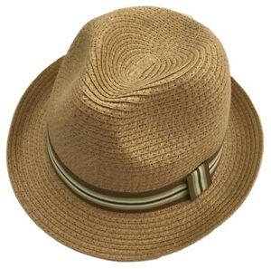 Thomas Calvi Paper Straw Trilby Hat with Band, Safari Beach Brim Traditional Cap