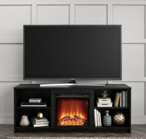 """🌟Fireplace TV Stand for TVs up to 65"""" Black Oak Modern Look Cozy Feel🌟US Stock"""