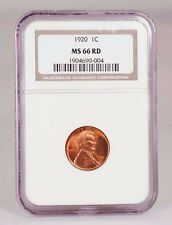 1920 Lincoln Cent Graded MS 66 Red by NGC