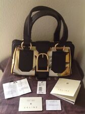 CELINE $2195 LIMITED EDITION DOCTOR BROWN LEATHER/FLORAL CANVAS BAG NWT ITALY