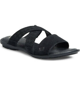 Born Women's Tidore Distressed Black Slip On Leather Sandals Shoes