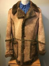 Vtg 70s Sheepskin Shearling Leather Suede Ranch Coat Jacket Mens 44 Marlboro Man