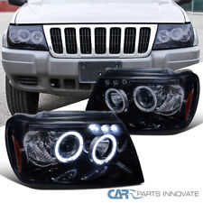 Glossy Black Fit Jeep 99-04 Grand Cherokee Halo Projector Headlights Left+Right