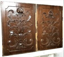 Pair scroll leaves shell wood carving panel Antique french architectural salvage