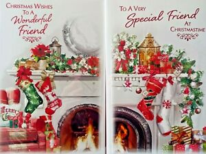 SPECIAL FRIEND CHRISTMAS CARD  ~ CHOICE OF 2 STOCKING DESIGNS ~ QUALITY CARD