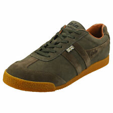 Gola Harrier 634 - Made in England - Mens Olive Suede Classic Trainers