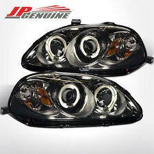 JDM Style Smoke Dual Halo Projector Headlights Lamps Pair for Honda Civic 96-98