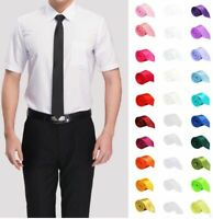 Men's Necktie Slim Narrow Tie Polyester Formal Suit Necks Wear Solid Pattern New
