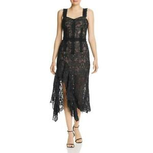 Bronx And Banco Womens Tiffany Black Lace Ruffled Midi Dress L BHFO 7567
