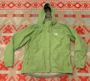 Womens The North Face Hyvent Green Nylon Rain Shell Jacket Sz XL